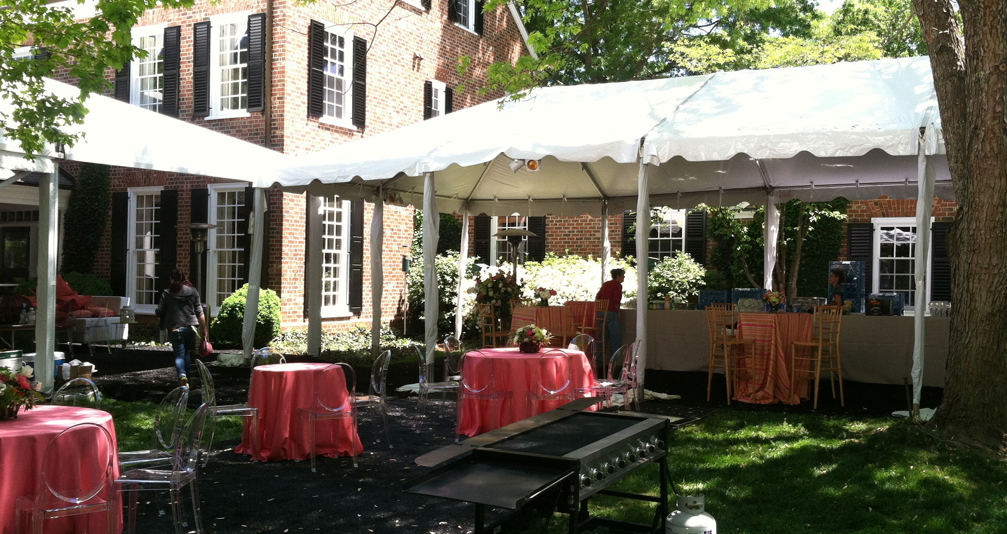 Outdoor awnings and tables for rent