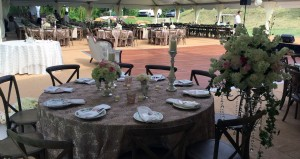 Table tops, flatware, and candles for rent