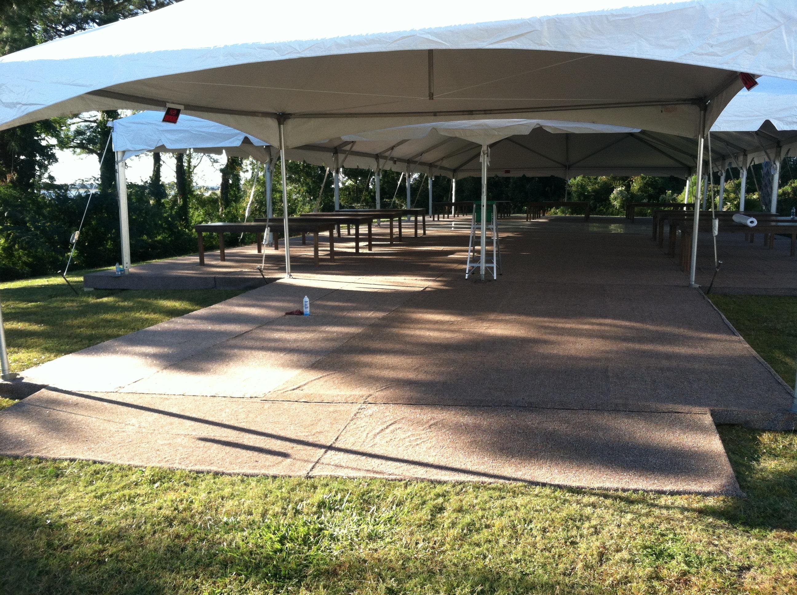 outdoor dance floor and tent rental