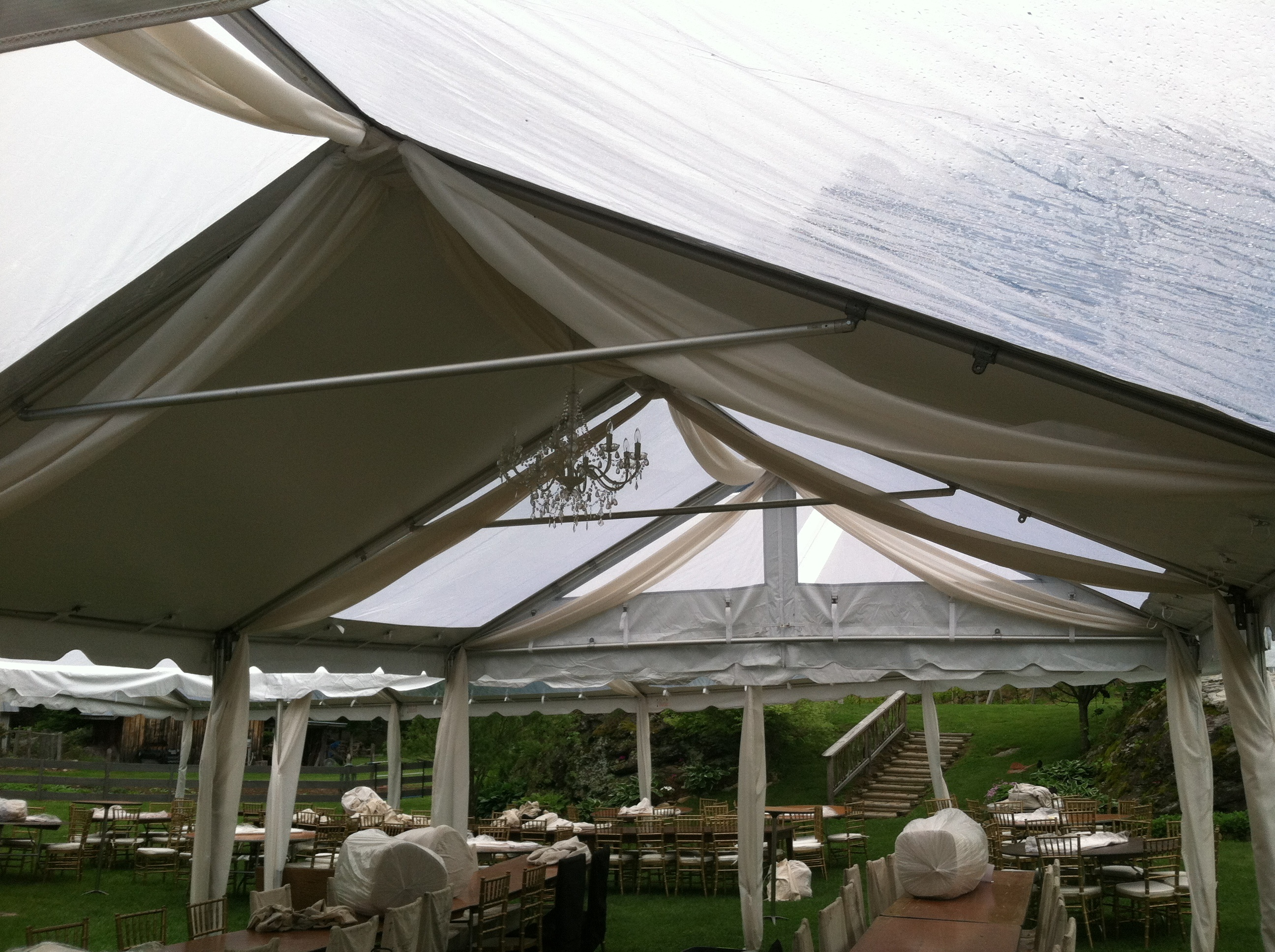billowing white outdoor event tent