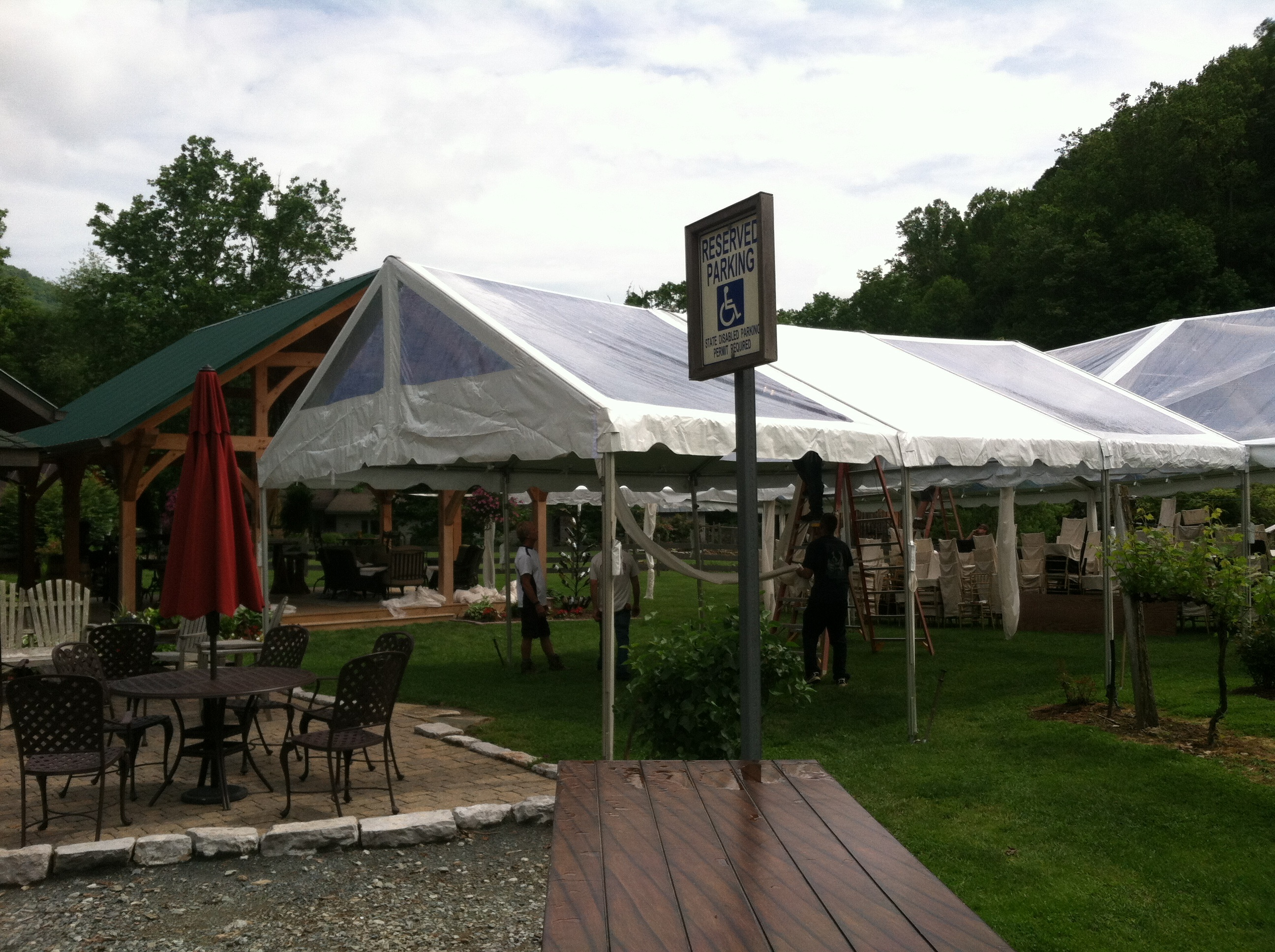tent rental in the process of being set up