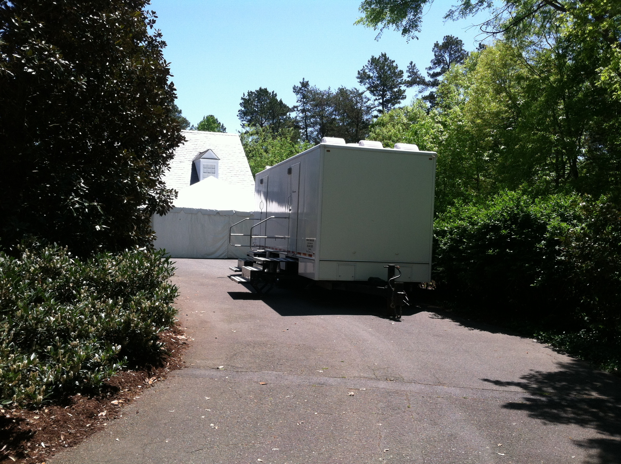 party rental trailer parked in driveway